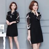 Plus Size Woman Dresses M 4Xl Causal Loose Half Sleeve Midi Dress Lady Ol Elegant Chiffon Dress Black Intl Deal