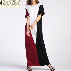 Best Deal Plus Size Zanzea Women Summer Pockets Beach Vestido Sundress Ladies Party Casual O Neck Short Sleeve Maxi Long Dress Kaftan Color2 Intl