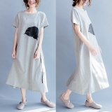 Sale Plus Size Zanzea Womens O Neck Short Sleeve Floral Print Side Split Vestido Ladies Kaftan Party Sundress Summer Beach Midi Dress Grey Intl Zanzea Wholesaler