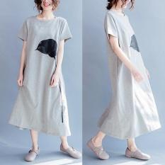 How To Get Plus Size Zanzea Womens O Neck Short Sleeve Floral Print Side Split Vestido Ladies Kaftan Party Sundress Summer Beach Midi Dress Grey Intl