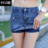 Wholesale Women S Plus Size Two Layered Short Denim Pants 9510 Dark Blue 9510 Dark Blue