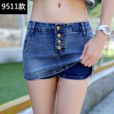 Price Women S Plus Size Two Layered Short Denim Pants 9511 Dark Blue 9511 Dark Blue Oem New