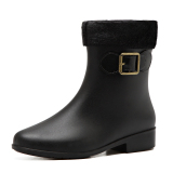Price Comparisons For Plus Velvet Solid Color Jelly *d*lt Waterproof Shoes Fashion Rain Boots Black Color Plus Velvet
