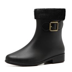 Sale Plus Velvet Solid Color Jelly *d*lt Waterproof Shoes Fashion Rain Boots Black Color Plus Velvet On China