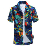 Who Sells Podom Men Summer Casual Hawaiian Beach Button Floral Print Short Sleeve Holiday Party Shirt Tee Top T Shirt Leaves Printed Cheap