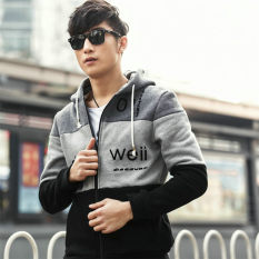 2018 Autumn Clothing Korean Style Leisure Mens Coat Cardigan Plus Velvet Sweater Mens Wear Baseball Clothes Hooded Popular Brand Sweater By Taobao Collection.