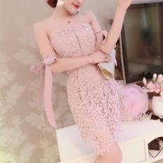 Popular Brand Sweet Summer S*xy B**b Tube Top Off The Shoulder Bandage Cloth Dress Lace Dress Sky Blue Color For Sale Online