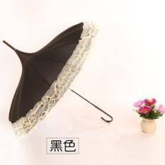 Price Princess Bone Double Layer Lace Pagoda Umbrella Black China