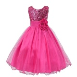 Great Deal Princess Girls O Neck Sleeveless Sequined Floral Ball Gown Xmas Bridesmaid One Piece Daily Dress Intl