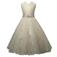 Discount Princess Sleeveless Lace Wedding Dress Flower G*Rl Dress Yellow 140Cm 6 7Y Intl