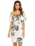 How To Get Promotion Astar Women Fashion Ruffle Off The Shoulder Short Sleeve Floral Dress Intl
