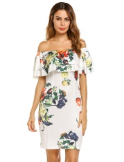 Low Price Promotion Astar Women Fashion Ruffle Off The Shoulder Short Sleeve Floral Dress Intl