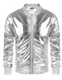 Price Comparisons For Promotion Men Metallic Nightclub Style Zip Up Baseball Bomber Jacket Silver Intl