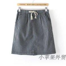 Promotional Loose Denim Skirts Plus Sized Women S A Word Dress Blue Fine Stripe Blue Fine Stripe Review