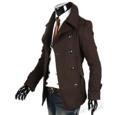 Cheap Promotion Sunwonder Men Slim Fit Casual Coat Long Jacket Double Breasted Trench Overcoat Outwear Intl