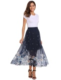 Cheap Promotion Women Elastic Waist Floral Print Lining Casual Party Long Chiffon Skirts Navy Blue Intl
