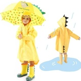 Deals For Pudding 3D Stereo Unisex Children Raincoat Poncho Yellow Intl