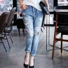 Where To Shop For Pudding Korea Korean Fashion Lady Hole Jeans Blue Intl