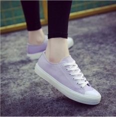 Deals For Pudding Korea Korean Fashion Low Canvas Shoes To Help Female Students White Shoes Leisure Shoes With Flat Shoes Purple Intl
