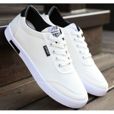 Compare Price Pudding Korea Korean Fashion Men S Canvas Lace White Shoes Student Ome On China