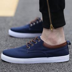 Wholesale Pudding Korea Korean Fashion Men S Casual Shoes Canvas Shoes Student Navy Blue