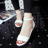 Sales Price Pudding Korea Korean Fashion New Flat Toe Female Student Sandals White Intl