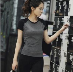 Sale Pudding Quick Dry Shirt Running Fitness Yoga Wear Sportswear Grey Intl