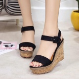 Best Price Pudding Korea Korean Fashion Rome Platform Wedge Sandals Sandals High Heeled Shoes Black Intl