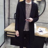 Buy Qiudong Korean Style Men Mid Length Woolen Coat Black Jay Chong