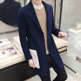 Great Deal Qiudong Korean Style Men Mid Length Woolen Coat Dark Blue Color