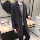 Recent Qiudong Korean Style Men Mid Length Woolen Coat Dark Gray Color