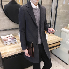 Latest Qiudong Korean Style Men Mid Length Woolen Coat Dark Gray Color