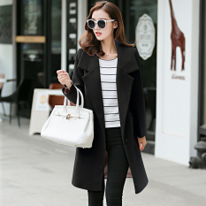 Sale Women S Korean Style Slim Fit Woolen Long Coat Black Black China