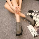 Where To Buy Autumn And Winter Korean Style Waterproof Platform Round Short Boots 919 Gray Thin Cashmere