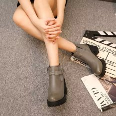 Sale Autumn And Winter Korean Style Waterproof Platform Round Short Boots 919 Gray Thin Cashmere Oem Wholesaler