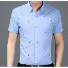 Qizhef Men S Fashion Lapel Print Shirt Blue Intl Shop
