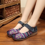 Top Rated Qizhef Old Beijing Classic Cross Stitch Wedges Cloth Shoes Blue Intl