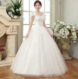 Sale Qq One Word Shoulder Lace Wedding Dress White Intl Oem Cheap