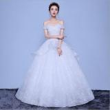 Price Qq One Word Shoulder Princess Wedding Dress White Intl Oem New