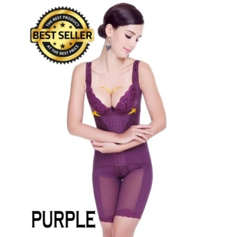 【READY STOCK - High Quality - FAST DELIVERY】Ultra Slim Corset Magnetic Therapy Full Body Shapewear (Purple)
