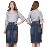 Discount Ready Stock Women High Waist Embroidery Split A Line Knee Length Denim Skirts Plus Size S 4Xl Intl Marsimone On China