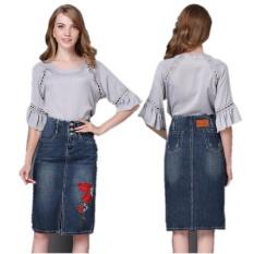 Best Reviews Of Ready Stock Women High Waist Embroidery Split A Line Knee Length Denim Skirts Plus Size S 4Xl Intl