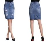 Top 10 Ready Stock Women High Waist Hole A Line Knee Length Denim Skirts Plus Size S 4Xl Intl
