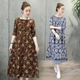 Wholesale Loose National Style Cotton Linen Long Sleeved Plus Sized Printed Dress Dress Navy Blue Navy Blue