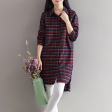 Real Shot 2017 Autumn And Dress New Style Long Sleeved Plaid Shirt Jacket Long Version Shirt Red Oem Cheap On China