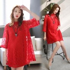 Wholesale Red Lace Maternity Nursing Dresses Long Sleeve Summer Wear Intl
