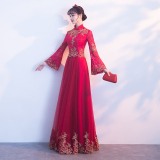 Discount Chinese Red New Autumn And Winter Evening Gown Toast Stand Up Collar Long Sleeved Burgundy Color Stand Up Collar Long Sleeved Burgundy Color