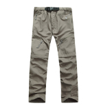 Removable Men Quick Drying Pants Outdoor Casual Breathable Trousers(Khaki) In Stock