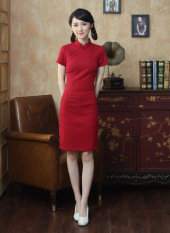 Retro Cotton Linen Spring And Summer New Style Dress Cheongsam Red Sale