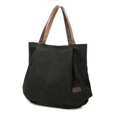 Retro fashion canvas shoulder bag, handbag(Black) - intl